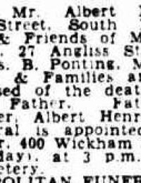 Funeral Notice Albert